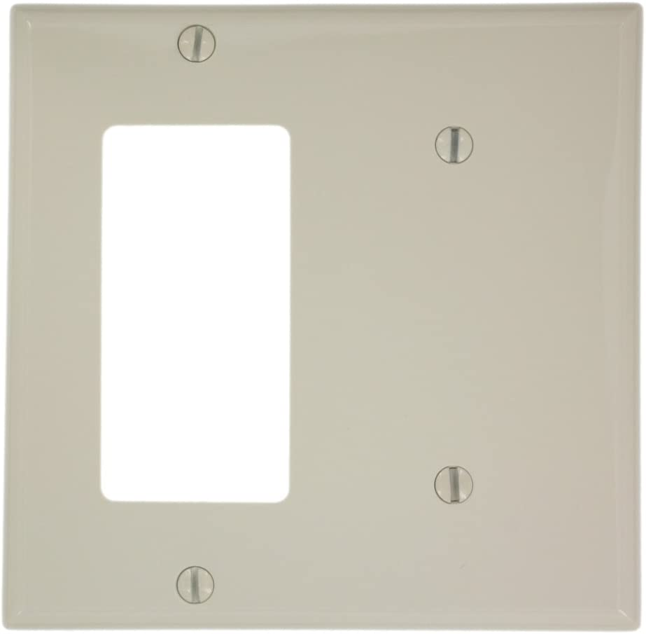Leviton 80708-T 2-Gang 1-Blank, 1-Decora/GFCI Device Combination Wallplate, Standard Size, Light Almond