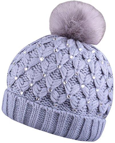 Winter Womens Pom Pom Hat Gray Pompom Beanie Knit Hats Cap With Bling Rhinestone,Gray,One (Rhinestone Womens Knit Cap)