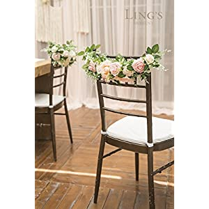 Ling's moment Nearly Natural Rose and Peony Spring Blooms Chair Banners Wedding Arch Wedding Chair Decoration Centerpiece Silk Flower Arrangement, Mixed Flower(Pack of 2) 4
