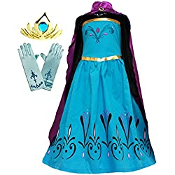 American Vogue Elsa Coronation Dress Costume + Cape + Gloves + Tiara Crown (4 Years, Blue-Purple)
