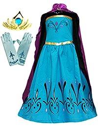 Elsa Coronation Dress Costume + Cape + Gloves + Tiara Crown