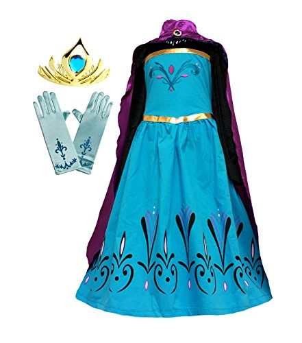 Cokos Box Elsa Coronation Dress Costume + Cape + Gloves + Tiara Crown (6 Years, Blue-Purple)