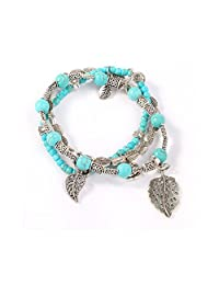 3 PCS Massage Turquoise Beads Bracelets Noverty Charms Elastic Thread Wrapped Bracelet for Women
