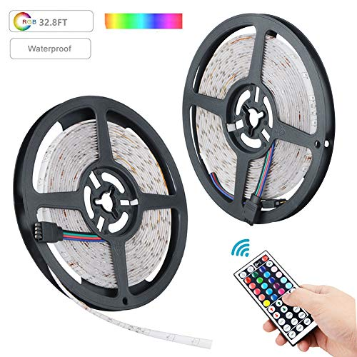 LED Light Strip, XINYI Waterproof Led Strip Light 32.8 Ft SMD 3528 600Leds RGB Color Changing Lights Rope Kits with 44 Key Ir Controller Power Supply for Christmas Home Kitchen -