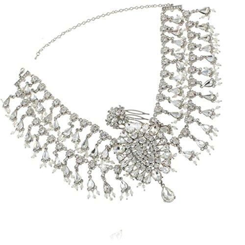 EVER FAITH Wedding Flower Tassel Chandelier Headband Clear Austrian Crystal Silver-Tone by EVER FAITH