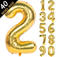 40 Inch Gold Digit Helium Foil Birthday Party Balloons