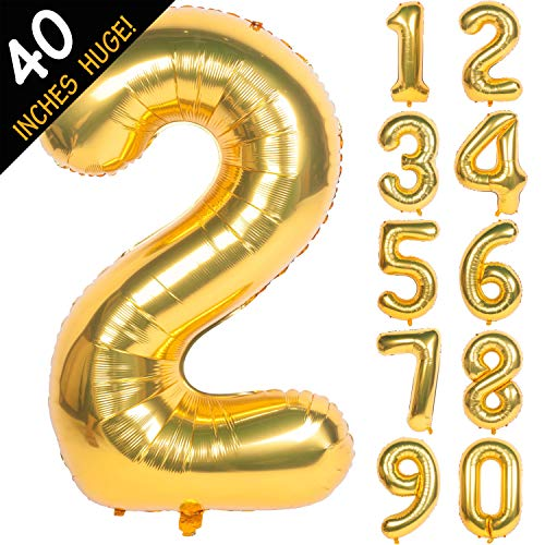 Balloon For Birthday (40 Inch Gold Digit Helium Foil Birthday Party Balloons Number)