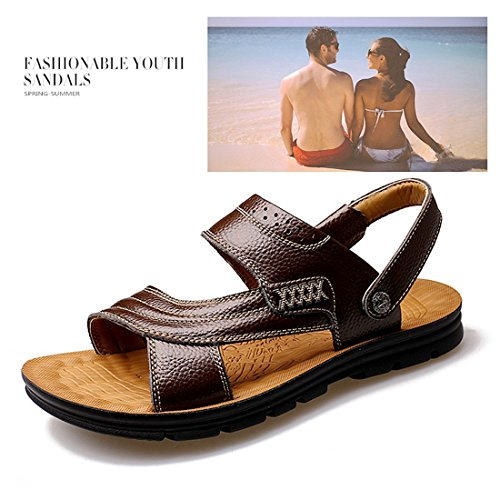 Strap On Casual Open Sandals Brown Sandals Flats Leather Soft Summer Slipper Beach Sport Outdoor Pull Mens Toe xIwqyU067T