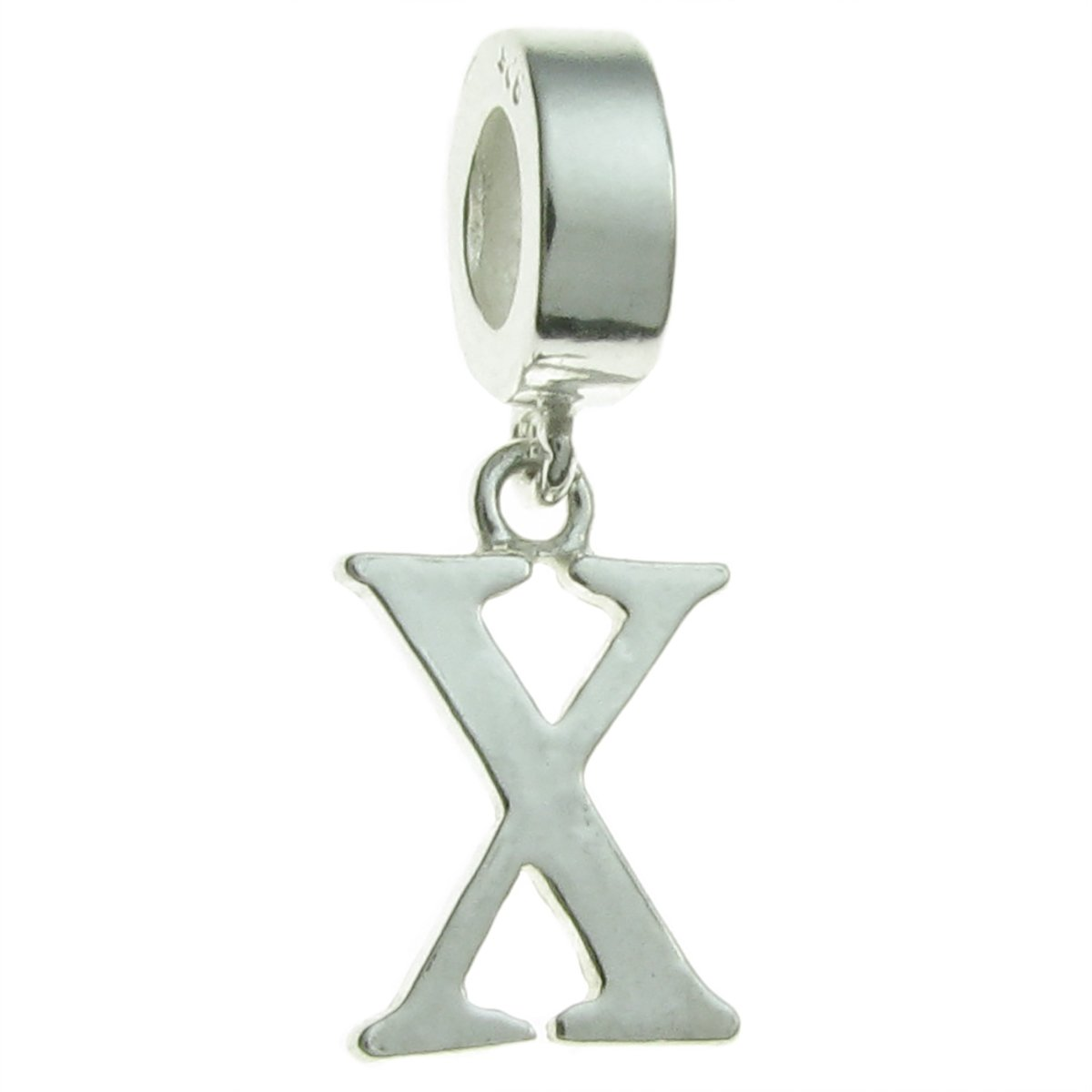 Sterling Silver Letter X European Style Dangle Bead Charm