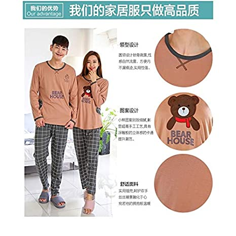 0d008b34ca Amazon.com: HeroStore Couple Pajamas Set Pigiama Donna Women Sleepwear Set  Nightwear Suit Long Sleeve Casual Ladies Homewear: Kitchen & Dining