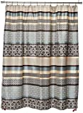 Madison Park Princeton Geometric Jacquard Fabric Shower Curtain, Transitional Shower Curtains for Bathroom, 72 X 72, Blue (Renewed)