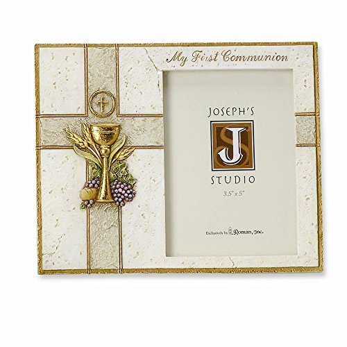 (My First Communion Chalice Host 7.5 x 6 Inch Resin Stone Easelback Picture Frame )