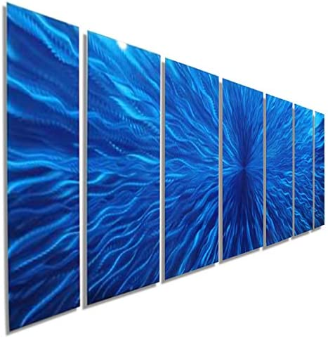 Statements2000 Abstract Large 3D Metal Wall Painting Panel Art Hanging Sculpture by Jon Allen, Blue, 68 x 24 – Arctic Blast