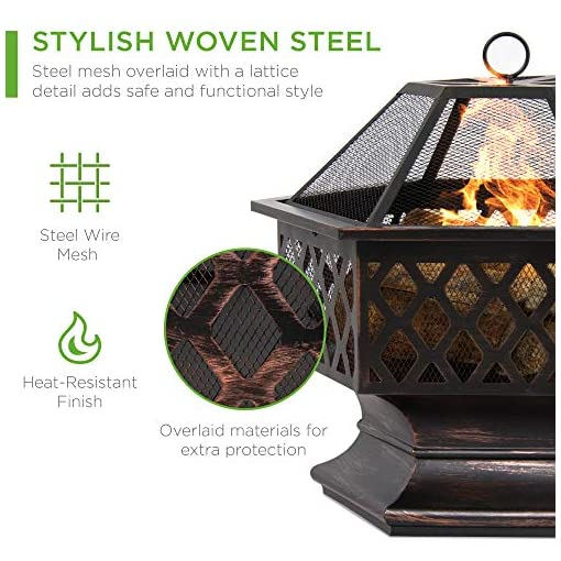 Fire Pits Best Choice Products Hex-Shaped 24in Steel Fire Pit, Black Metal Wood Burning Firepit, Portable Hexagon Fire Bowl for… firepits