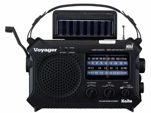Kaito KA500IP-BLK Voyager Solar/Dynamo AM/FM/SW NOAA Weather Radio with Alert and Cell Phone Charger, Black