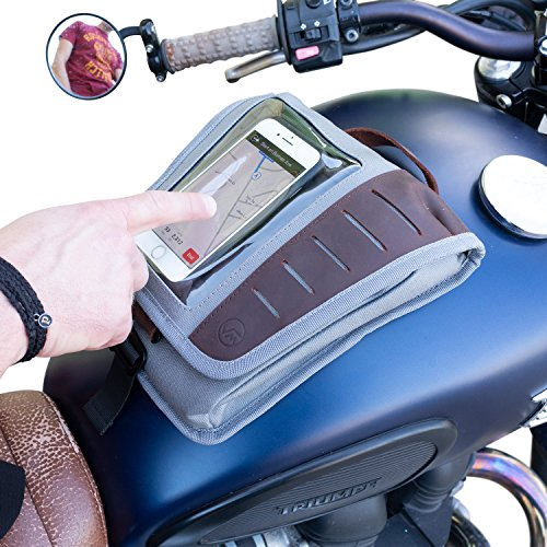 Vuz Moto Mini Magetic Mount Tank Bag with Phone Window, Multiple Compartments, Leather Handcrafted Finish