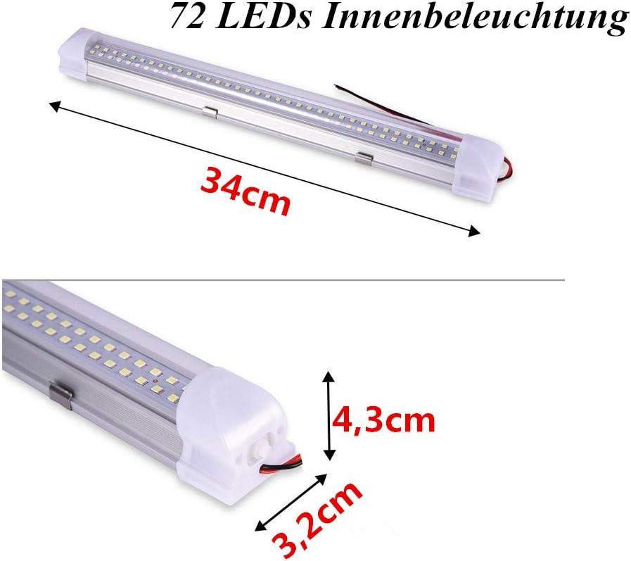 12 V, 72 ledes color blanco Barra de luces LED para interior de coche