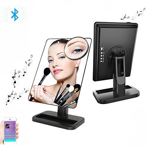 OMAYA Bluetooth Speaker Makeup Mirror- LED Touch Screen wireless Speaker Mirror, Hands Free Speakerphone Cosmetic Mirror, Adjustable Vanity Mirror With 20 LED Light And 10X Magnifier (black)