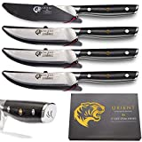 Japanese Steak Knives (Set of 4) 5 inch Damascus Steel AUS10 Ultra Sharp Non Serrated Stainless Steel, Professional Standard - 67 Layer - Gift Box & 4 x Protective Sheath Blade Guard BBQ Steaks