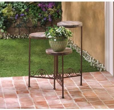 Amazon Com Garden Planters Wooden Iron Multi Tiered Plant Stand