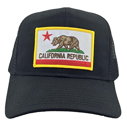CALIFORNIA BEAR STATE FLAG MESH USA TRUCKER HAT - (State Flag Trucker Hat)