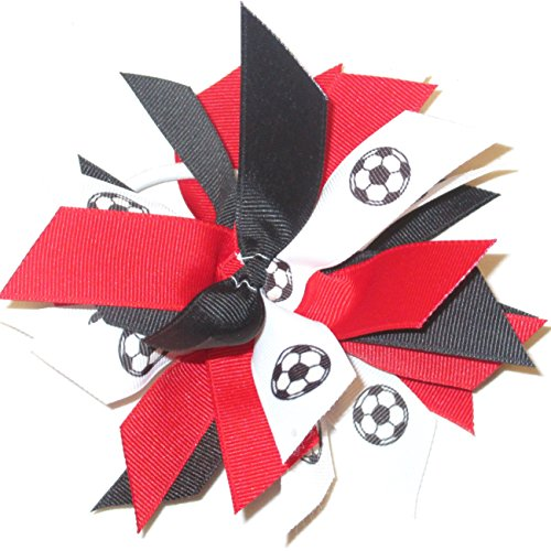 Soccer Pom Scrunchie - Made in the USA, Avail in Many Colors (Black/Red), white pony band