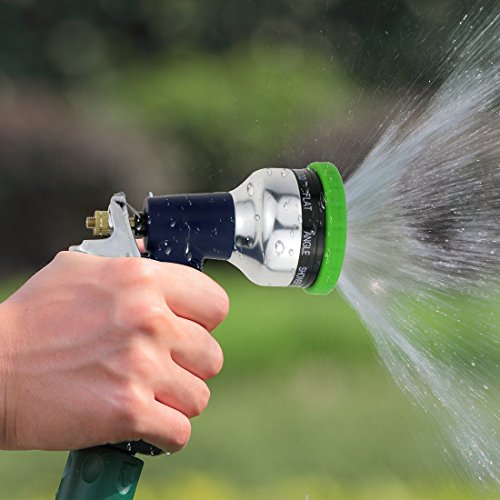 EveShine Garden Hose Nozzle - 9 Way Spray Pattern Metal Hand Sprayer Watering Nozzle with Washers- for Car Wash, Washing Dogs & Pets, Cleaning, Watering Lawn and Garden