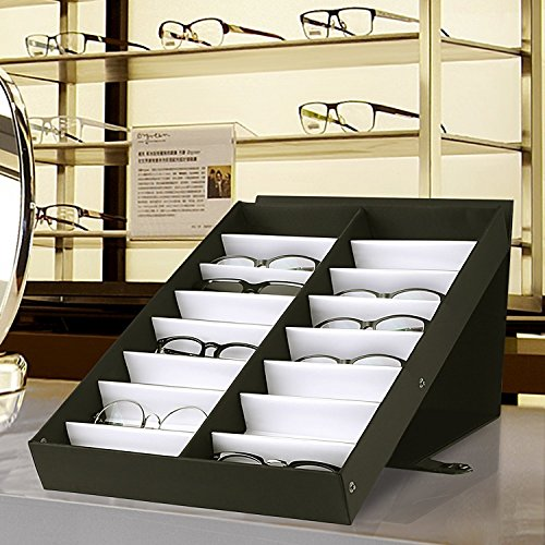 8 Slot Eyeglass Sunglasses Glasses Storage Case With Glass Lid Sorting Box For Storage And Presentation Of Eyeglasses