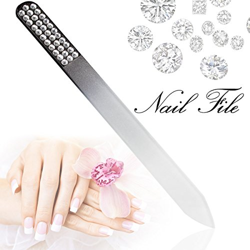 Glass Nail File with Case, Double Side Diamond Tempered Glas