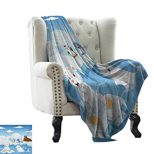 LsWOW Faux Fur Throw Blanket Kids,Image of Arctics Animals Polar Bears Seal Penguins Wolfs Whales Work of Art,Sky Blue and White Reversible Soft Fabric for Couch Sofa Easy Care 30