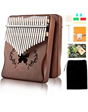 $27 » Kalimba Thumb Piano 21 Keys, Solid Wood Thumb Piano Mahogany Portable Finger Piano with Learning Instruction and Tune Hammer, Musical Instrument for Kids Adult Beginners