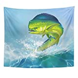 Emvency Tapestry Print 50x60 Inches Green Fishing Mahi Dolphin Fish on Blue Ocean Saltwater Beautiful Big Cartoon Wall Hangings Home Decor