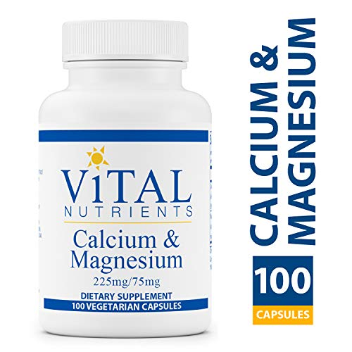 Vital Nutrients - Calcium & Magnesium (225mg / 75mg) - Cardiovascular, Muscle, and Bone Support - 100 Vegetarian Capsules per Bottle ()