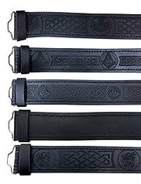 Scottish Highland Black Leather Masonic, Thistle, Plain and Celtic Kilt Belts