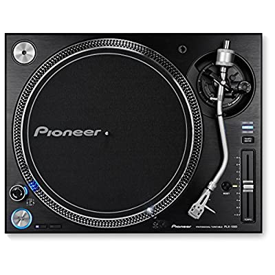 Pioneer DJ Direct Drive DJ Turntable - Black with Pair of Ortofon SM-17 Vinyl Label Slipmats from PioneerBundle