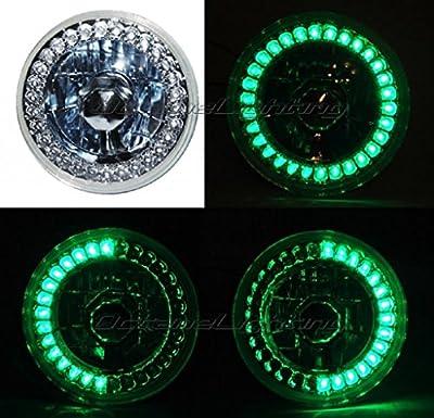 "OCTANE LIGHTING 5-3/4"" Motorcycle Halogen Headlight Light Bulb Crystal Green Led Halo Angel Eye"