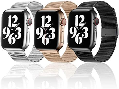 Magnetic iWatch Band Compatible for apple Watch 38mm 40mm 42 mm 44mm,Stainless Steel Mesh Loop metal Sport Wristband Compatible for iWatch Series 6/5/4/3/2/1/SE (Black/Rose Gold/Sliver, 38mm/40mm)