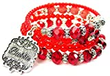 Chubby Chico Charms Bubbie Victorian Scroll Multi Wrap Beaded Bracelet in Crimson Red