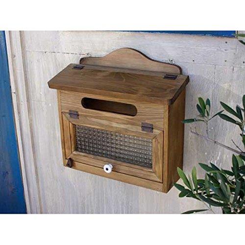 ポスト 横型 フランス製チェッカーガラス 木製 ひのき 郵便受け アンティークブラウン 受注製作 B01L8DSV1W 10260