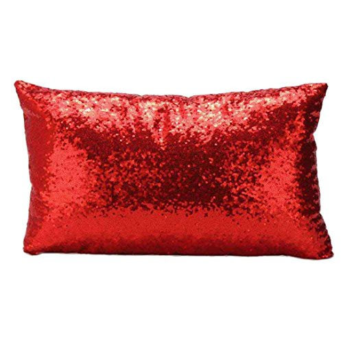 GBSELL Pillow Cover Glitter Sequins Rectangle Throw Pillow Case Cafe Home Party Christmas Decor Cushion Red