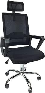 كرسي مكتب متحرك شبك بقاعدة استيل