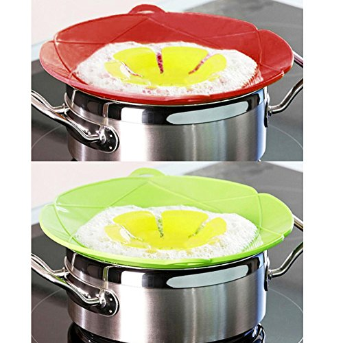 AUANDYU 2 X Spill Stopper Lid Cover And Spill Stopper, Boil Over Safeguard,Silicone Spill Stopper Pot Pan Lid Multi-Function Kitchen Tool (Green And Red) by AUANDYU (Image #4)
