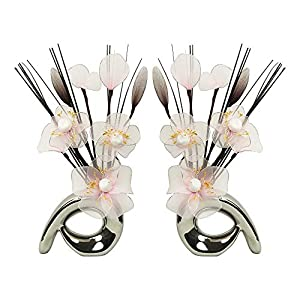 MARJON FlowersMatching Pair of Silver Vases with Candy Floss Pink Nylon Artificial Flowers in Vases Fake Flowers Ornaments Small Gift Home Accessories 24