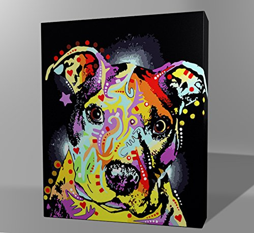 Wooden Framed Paint By Numbers Kit For Adults DIY Oil Painting - (16 by 20 Inch) - Dog Series (Abstract Colorful)