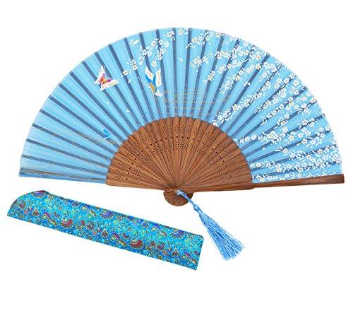 Amajiji Charming Elegant Modern Woman Handmade Bamboo Silk 8.27 Folding Hand Fan (Blue)