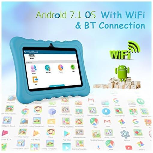 Tablet para niños con WiFi de 7 Pulgadas,Tablet Infantil de Android 7.1, Regalo para niños,Tablet portátil de Quad Core 1GB+8GB,Soporta Tarjeta TF 64GB,Doble cámara,Juegos educativos 6