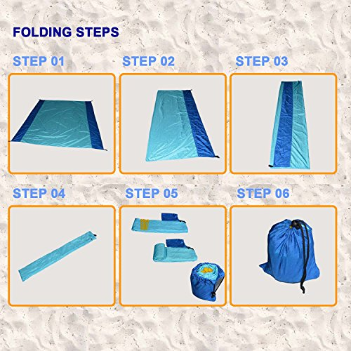 [Pack of 10] Sand Proof Beach Picnic Blanket of Parachute Nylon, works as Shade Tarp Sheet for your Sandless travel escape perfect for drying towel not a black microfiber waterproof or resistant mat by Spencer&Webb (Image #6)