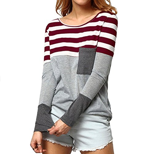 LINGMIN Women Round Neck T-Shirt Blouses Long Sleeve Tunic Tops Casual Color Block Henley with A Pocket WineRed Tag XL