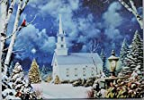 Tabletop Light Up Picture Church in Woods Canvas Print Stretched Over Wood Frame with Built in Stand and Timmer Function, LED Lights, Tree Lights Change Color, 8.25'' x 6'' Winter Scene, 6 Hr. Timmer