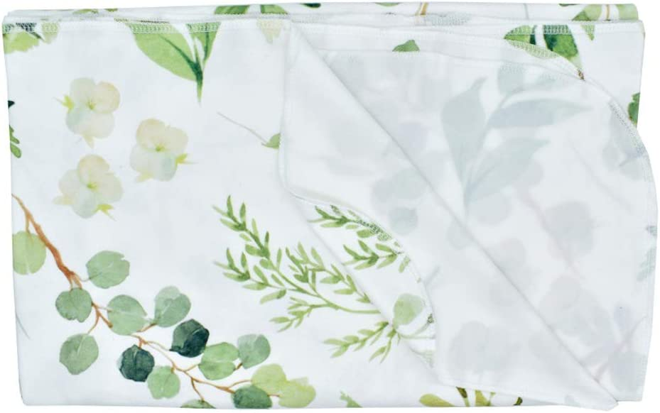 Watercolor Floral Print Oversized Super Soft Large Receiving Blanket for Infant Boys and Girls Green Leaf, 86x137cm//33.86x53.94inch Newborn Baby Swaddle Blanket